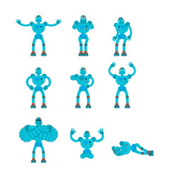 robot set poses and motion robotic man happy and vector image