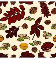 Seamless pattern hand sketched nuts vector