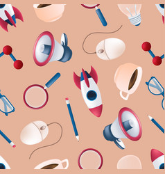 seamless pattern with flying rocket science vector image