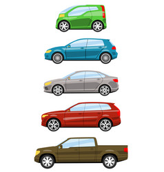 Set of cars side view vector
