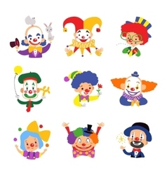 Set of clown cartoon icon isolated on white vector