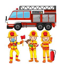 Set of fireman and truck vector