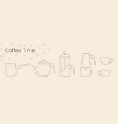 set of line of coffee preparation cezve coffee vector image