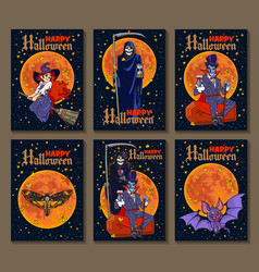 Set of six cartoon style halloween posters with vector