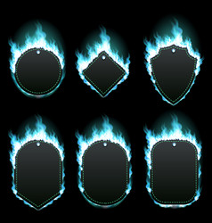 Set of six frames surrounded with azure flame vector
