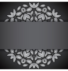 Silver and black round sunflowers invitation vector