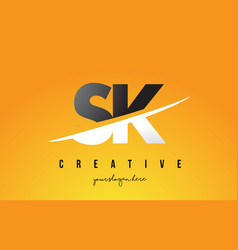 sk s k letter modern logo design with yellow vector image