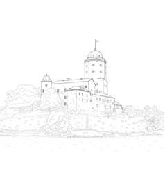 Sketch vyborg castle vector