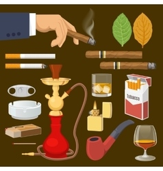 Smoking Tobacco Decorative Icons Set vector image