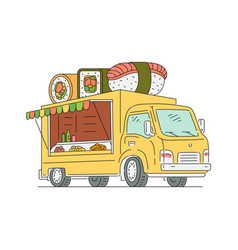 Street food sushi and japanese truck sketch vector