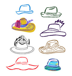 summer hats caps outlined template set vector image