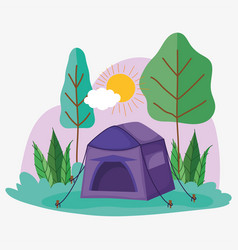 Tent camping picnic in park landscape vector