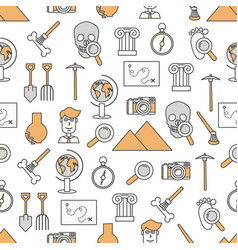 Thin line art archaeology seamless pattern vector