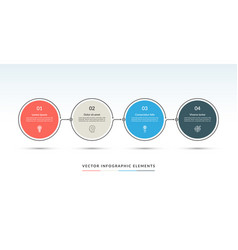 timeline infographic template of 4 circles vector image