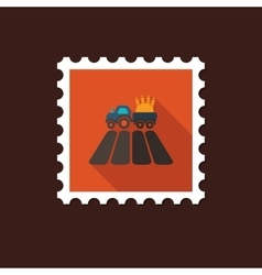 Tractor on field flat stamp with long shadow vector image