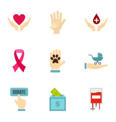 Volunteer center icons set flat style vector