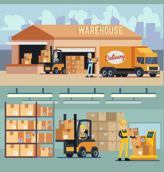 warehouse storage and shipping logistics vector image