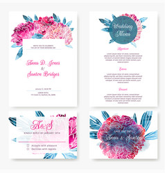 wedding invitation kit with hand painted peonies vector image