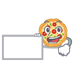 With board margherita pizza in a cartoon oven vector