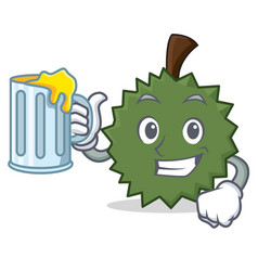 with juice durian mascot cartoon style vector image