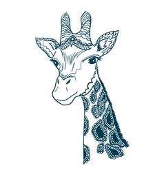 with vintage giraffe vector image