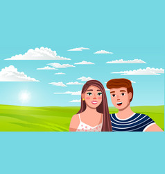 Young romantic people on green plain vector