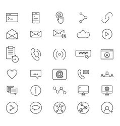 30 line icons of social vector image vector image