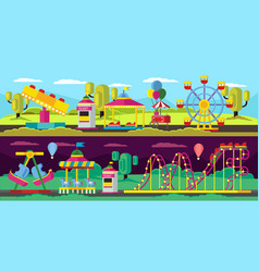 amusement park horizontal banners vector image