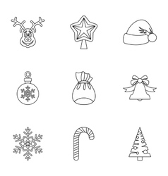 Christmas icons set outline style vector image vector image