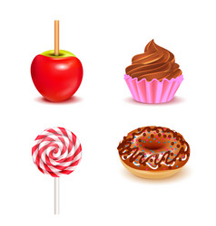 fair sweets realistic set vector image