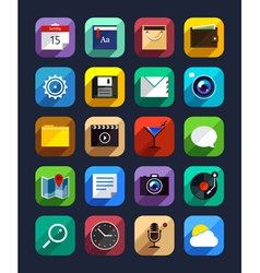 Flat App Icons Set 6 vector image vector image