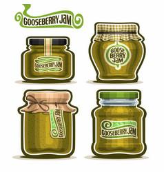 Gooseberry jam in glass jars vector