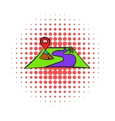 Map with pin pointers icon comics style vector image