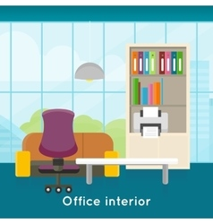 Office Interior Concept In Flat Design vector image vector image