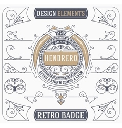 Vintage Ornament and Retro Badge Design Elements vector image vector image