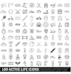 100 active life icons set outline style vector image