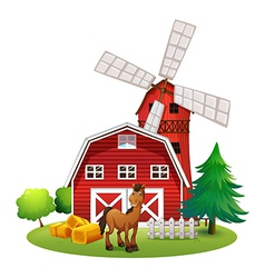 A smiling horse outside the red barnhouse with a vector image