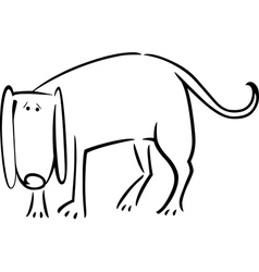 cartoon doodle of sad dog for coloring vector image vector image