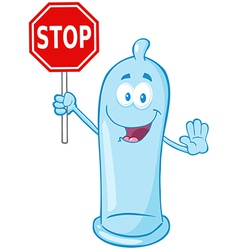 Condom Holding A Stop Sign vector image