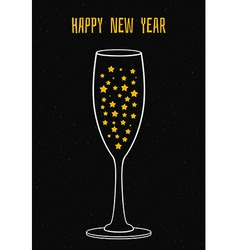 Glass of champagne with the stars vector image vector image