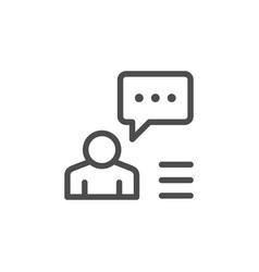 person speech line icon vector image vector image