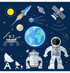 Set of flat space icons of planet Earth Su vector image vector image
