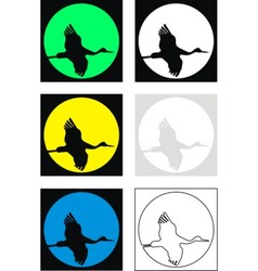 silhouettes of flying crane vector image vector image