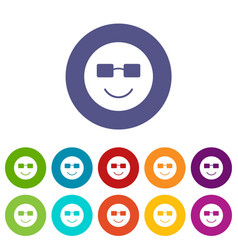 smiling emoticon set icons vector image vector image