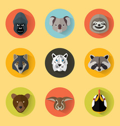 animal portraits with flat design vector image