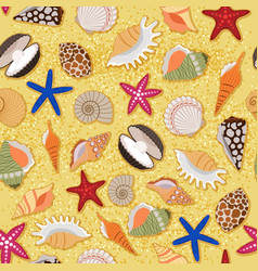 beach sand background with sea shells vector image vector image
