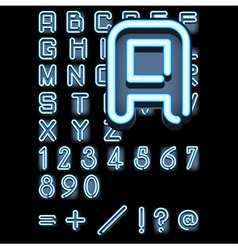 blue neon alphabet vector image vector image