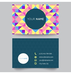 Business card template abstract colorful geometric vector image
