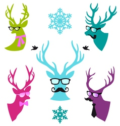 Christmas deer heads set vector