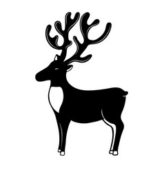 christmassy reindeer with horns silhouette deer vector image